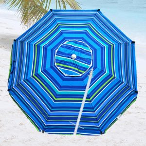 8 Foot Fiberglass Beach Umbrella For Wind
