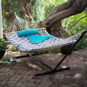 Algoma Cotton Rope Hammock with Metal Stand Deluxe Set