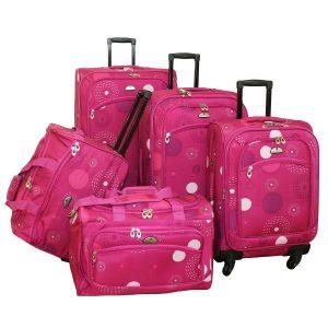 American Flyer 5 Piece Luggage Fireworks Pink Spinner Set