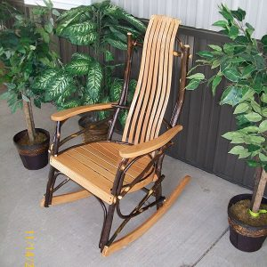 Amish Natural Stain Rustic Hickory And Oak Rocker