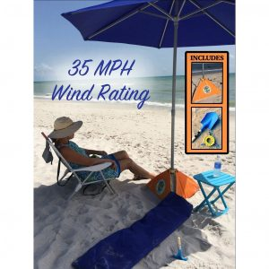 BeachBUB All-In-One 7.5 Feet Beach Umbrella For Wind
