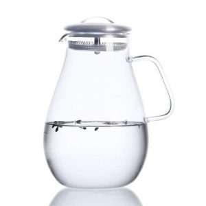 Hiware Glass Pitcher with Stainless Steel Lid