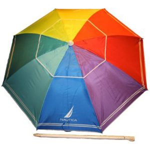Nautica Beach Umbrella UPF 50+ Rainbow