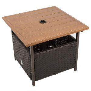Naturefun Outdoor PE Wicker Table with Umbrella Hole