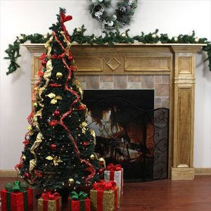 Northlight 6′ Clear Lights Pop Up Decorated Red/Gold Artificial Christmas Tree