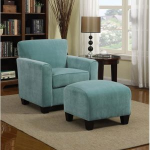 Park Avenue Velvet Traditional Arm Chair and Ottoman