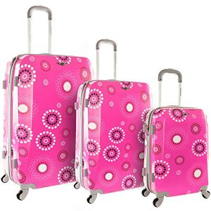 Rockland 3 Piece Vision Pink Luggage Set