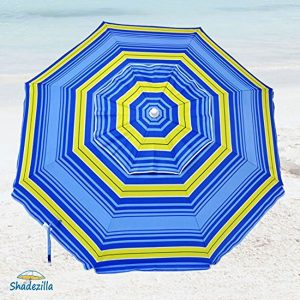 Shadezilla 9 Foot Jumbo Heavy Duty Beach Umbrella UPF 100+ With Tilt