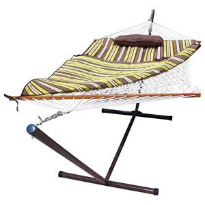 Sunnydaze Desert Stripe Rope Hammock Combi with Stand