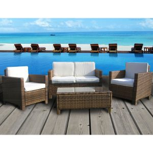 The Wicker House Eden Rock Collection 4 Piece Outdoor Sectional