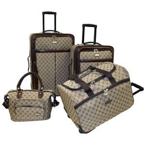 American Flyer 4 Piece Signature Designer Luggage Set