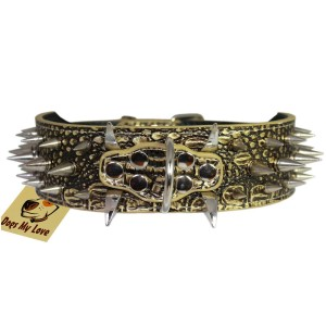 Bronze Faux Croc Leather Spiked Dog Collar