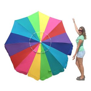 EasyGo 7′ Rainbow Heavy Duty Beach Umbrella