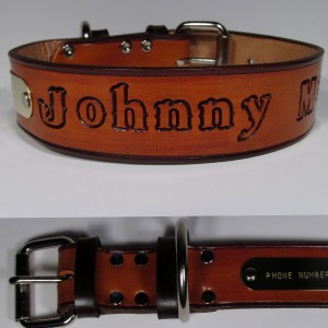 Haigler and Wallace Personalized Leather Dog Collar with Name Tag