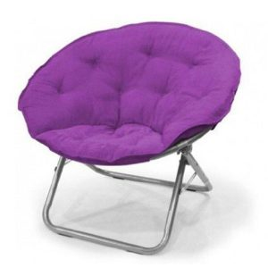 Mainstays Oversized Large Purple Polysuede Folding Moon Chair