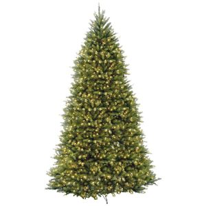 National Tree Hinged Dunhill Fir Tree with Clear Lights
