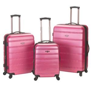 Rockland 3 Piece Melbourne Pink Luggage Set