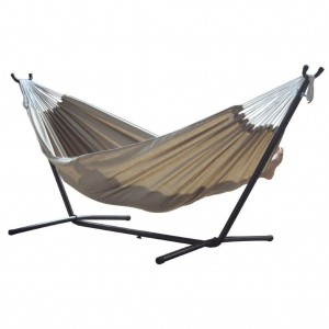 Vivere Double Sunbrella Hammock with Steel Stand